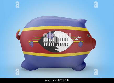 Side view of a piggy bank with the flag design of Swaziland.(series) - Stock Photo