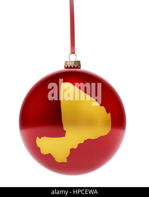 A hanging glossy red bauble with the golden shape of Mali.(series) - Stock Photo