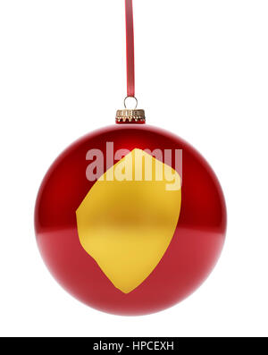 A hanging glossy red bauble with the golden shape of Swaziland.(series) - Stock Photo