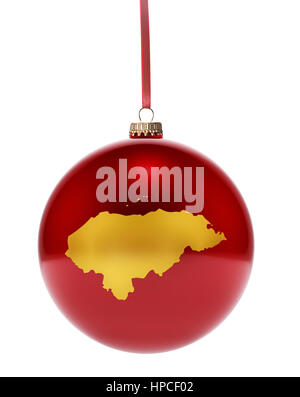 A hanging glossy red bauble with the golden shape of Honduras.(series) - Stock Photo