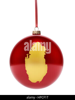 A hanging glossy red bauble with the golden shape of Qatar.(series) - Stock Photo