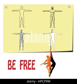 vector man drawn in pencil jumping from paper to freedom - Stock Photo