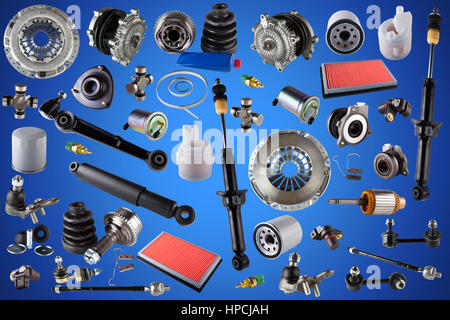 Auto spare parts car on the blue background. Set with many isolated items for shop or aftermarket. Stock Photo