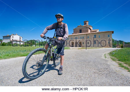 mountain bike tour,barco ducale,urbania,marche,Italy - Stock Photo