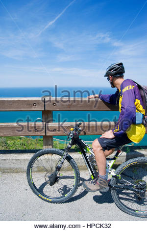 mountain bike tour,colle san bartolo,pesaro,marche,italy - Stock Photo