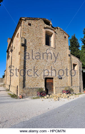 church of Santa Maria of consolation damaged due the earthquake in late October 2016,San Ginesio,Italy - Stock Photo