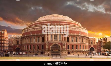 A sunset exterior view taken from Kensington Gardens of Royal Albert Hall, London, United Kingdom. - Stock Photo