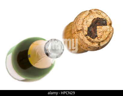 Champagne cork with the shape of Western Sahara burnt in and bottle of champagne in the back.(series) - Stock Photo