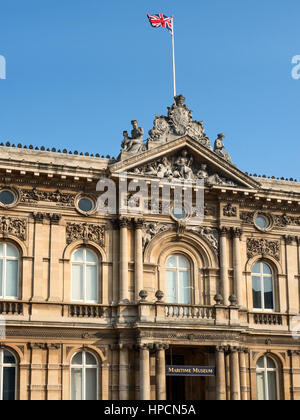 Union Jack Flying over Maritime Museum in Old Victorian Dock Offices at Queen Victoria Square Hull Yorkshire England - Stock Photo