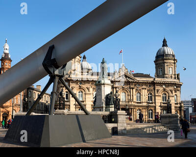 Blade Sculpture in front of Maritime Museum in Queen Victoria Square for Hull UK City of Culture 2017 Hull Yorkshire - Stock Photo