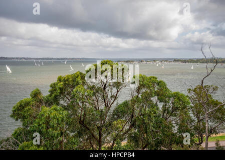 Perth Royal Yacht Club racing in Freshwater Bay on Swan river in Perth, Western Australia, March 2015 - Stock Photo