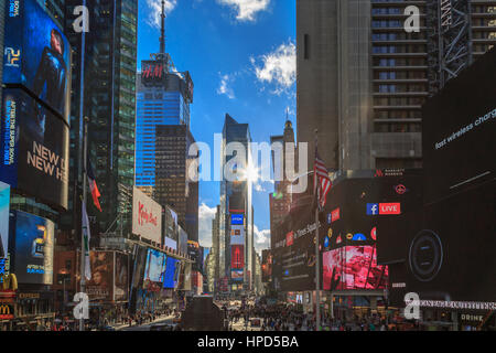 At Times square, New York, New York- January 4, 2017. Times square view from Father Duffy square view. - Stock Photo