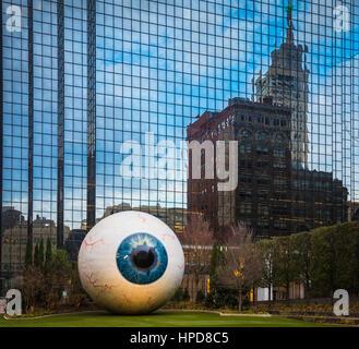 Sculpture of eyeball in downtown Dallas, Texas. Artist: Tony Tasset - Stock Photo