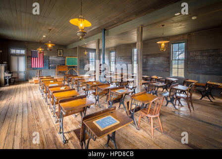Classroom in an old school in Dallas, Texas that was in use from 1888 to 1919. - Stock Photo