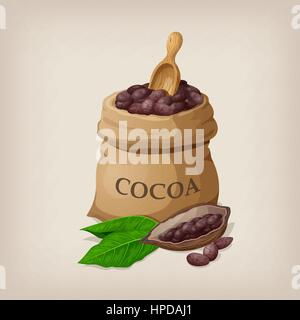 Cocoa beans in a bag. Vector illustration - Stock Photo
