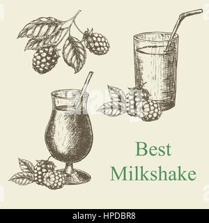 Hand drawn milkshake and blackberry raspberry. Vector illustration - Stock Photo