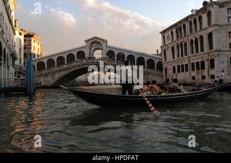View to the Rialto Bridge over the Grand Canal - Stock Photo