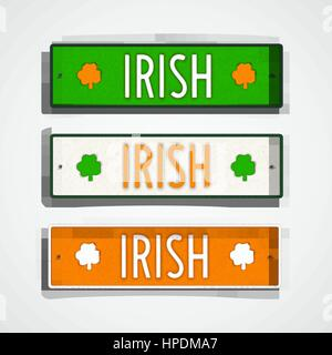 Irish. Set of stylized badges in style car license plate.  The colors of national flag Ireland. Vector design elements. - Stock Photo