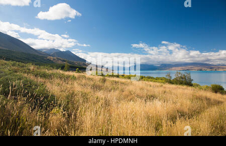 Twizel, Canterbury, New Zealand. View northwards along Lake Pukaki from Peters Lookout, the Southern Alps shrouded - Stock Photo