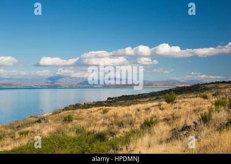 Twizel, Canterbury, New Zealand. View southwards along Lake Pukaki from Peters Lookout. - Stock Photo