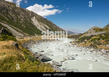 Aoraki/Mount Cook National Park, Canterbury, New Zealand. View over the turbulent waters of the Hooker River towards distant Lake Pukaki.