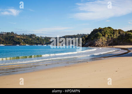 Oban, Stewart Island, Southland, New Zealand. View over Halfmoon Bay from Butterfield Beach. - Stock Photo