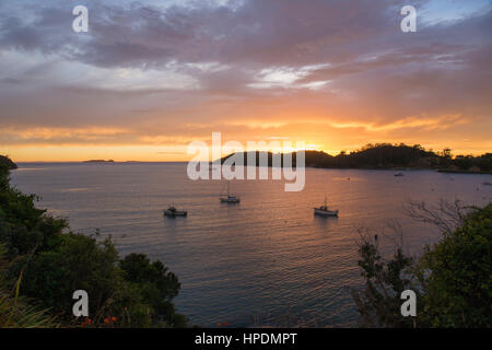 Oban, Stewart Island, Southland, New Zealand. View over Halfmoon Bay at sunrise. - Stock Photo