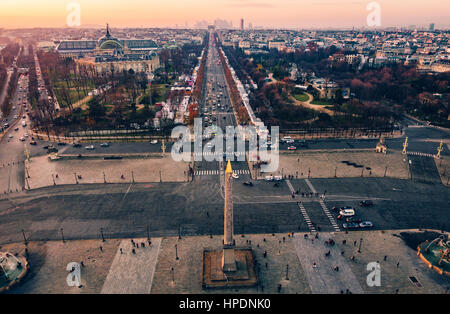 Place de la Concorde and the Champs-Elysees aerial view at sunset in Paris, France - Stock Photo