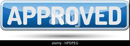 APPROVED - Abstract beautiful button with text. - Stock Photo