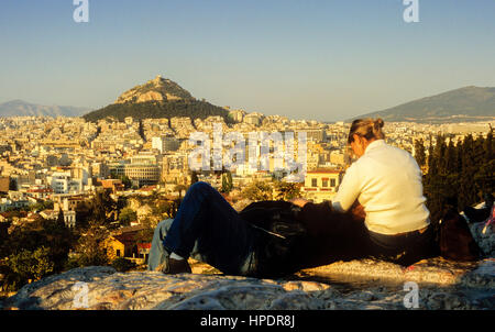 Athens as Seen from the Acropolis. In background Likavitos  Hill, Athens, Greece, Europe - Stock Photo