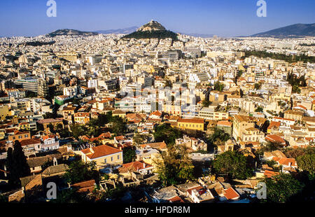 Athens as Seen from the Acropolis, Athens, Greece, Europe - Stock Photo