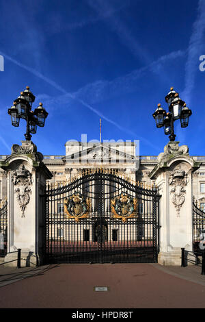 Summer view of the frontage of Buckingham Palace, St James, London, England, UK - Stock Photo