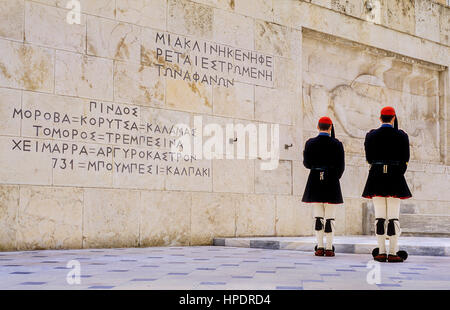 Evzones (soldiers).Changing of guard in front of  the parliament house, at the tomb of  the unknown soldier. Syntagma - Stock Photo