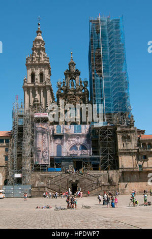 Ristoration works of the cathedral, Santiago de Compostela, La Coruña province, Region of Galicia, Spain, Europe - Stock Photo
