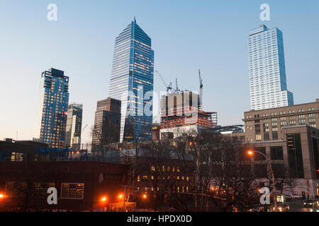 Construction of the Hudson Yards development, including 10 Hudson Yards, center,  in New York on Sunday, February - Stock Photo