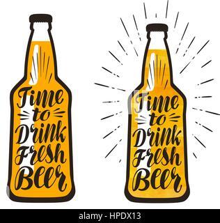 Bottle of beer, lager. Time to drink fresh beer, lettering. Vector illustration - Stock Photo