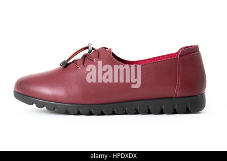 Beautiful vintage fashion woman leather shoes with side view profile, isolated on white background. - Stock Photo