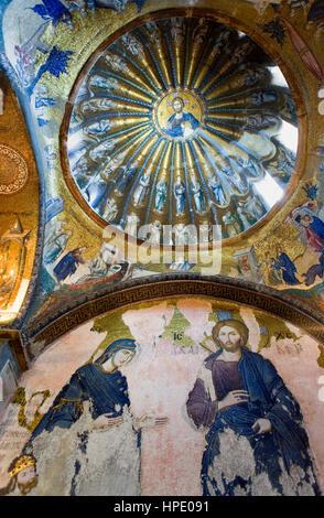 Byzantine mosaics, IV Century, in Kariye Mosque and museum (Chora church). Inner narthex. Istanbul, Turkey - Stock Photo