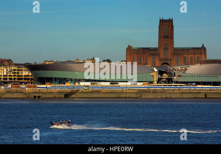 Skyline of the City, as seen from Mersey river. Liverpool Anglican cathedral and The Echo Arena Convention Centre.Liverpool. - Stock Photo