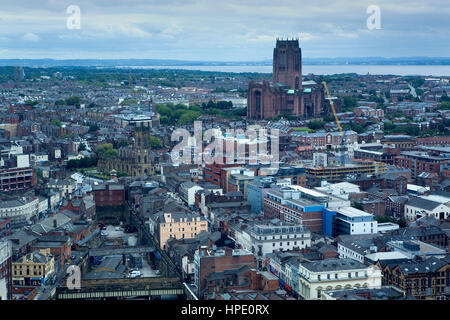 Skyline of the City. To the right Liverpool Anglican cathedral and to the left San Lucas's church.Liverpool. England. - Stock Photo