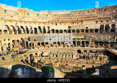 Interior of the 1st century Flaviam amphitheatre known as the Colosseum, Rome, Italy - Stock Photo