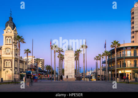 Adelaide, Australia - August 22, 2015: Moseley Square with Pioneer Memorial in the middle at night. Moseley Square - Stock Photo