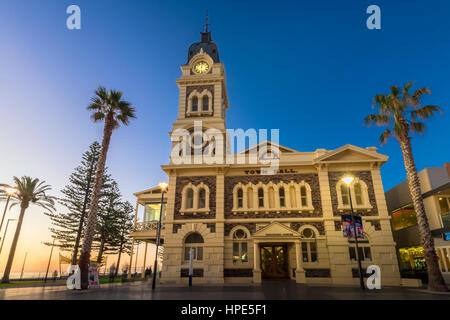 Adelaide, Australia - August 22, 2015: Glenelg Town Hall at Moseley Square at night. Moseley Square is a public - Stock Photo