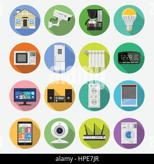 Smart House and internet of things flat icons set - Stock Photo