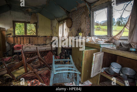 Old derelict summerhouse from the 70s where people used to retreat at weekends, Yorkshire, England - Stock Photo