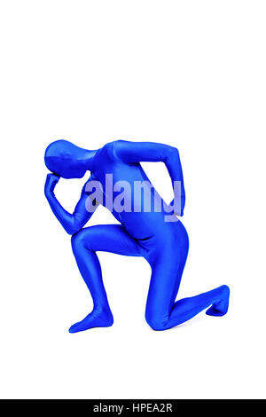 Mysterious blue man in morphsuit - Stock Photo