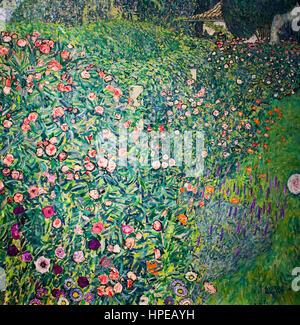 Italian Garden Landscape,oil on canvas,Gustav Klimt,Leopold Museum,Vienna, Austria, Europe - Stock Photo