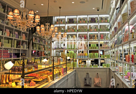 luxury french bakery laduree window display in the french ski resort stock photo royalty free. Black Bedroom Furniture Sets. Home Design Ideas