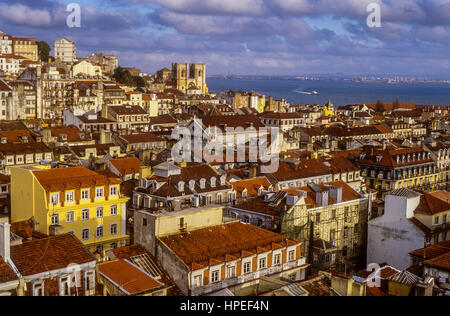 Overlooking Baixa and Alfama, Lisbon, Portugal - Stock Photo