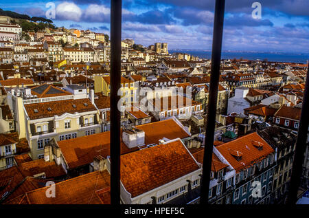 Overlooking Baixa and Alfama,View from Elevador de Santa Justa.Lisbon. Portugal. - Stock Photo